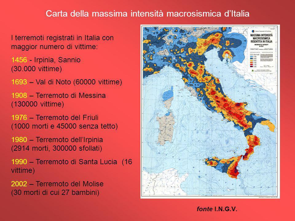 Carta della massima intensità macrosismica d'Italia