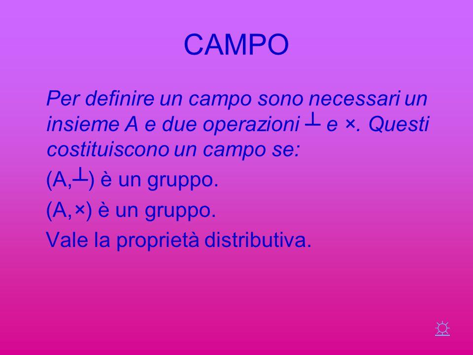 CAMPO Per definire un campo sono necessari un insieme A e due operazioni ┴ e ×. Questi costituiscono un campo se: