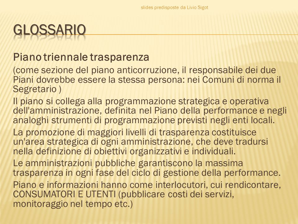 GLOSSARIO Piano triennale trasparenza
