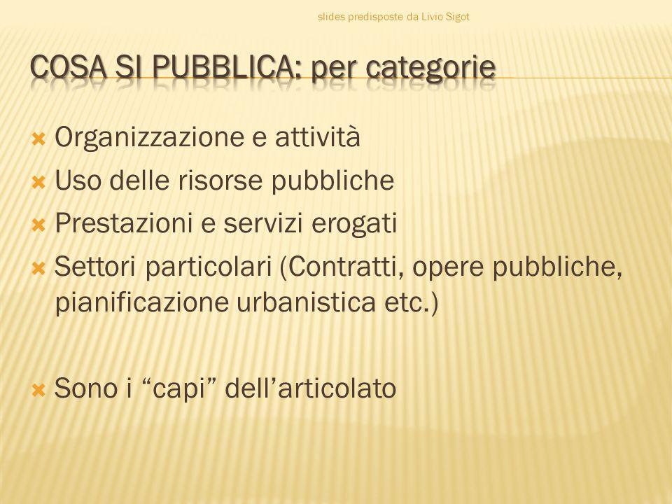 COSA SI PUBBLICA: per categorie