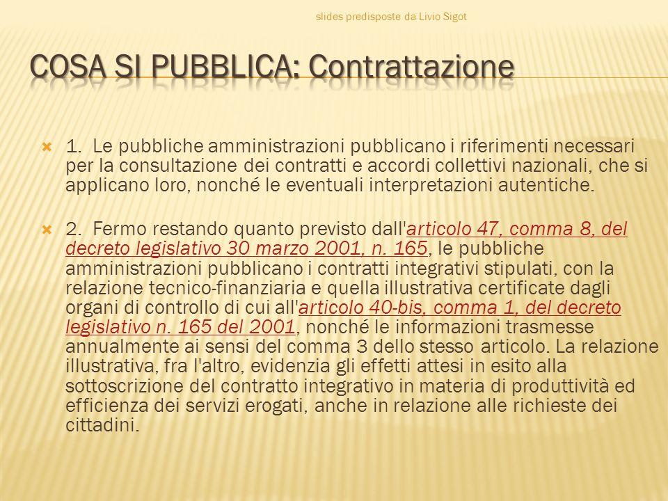 COSA SI PUBBLICA: Contrattazione
