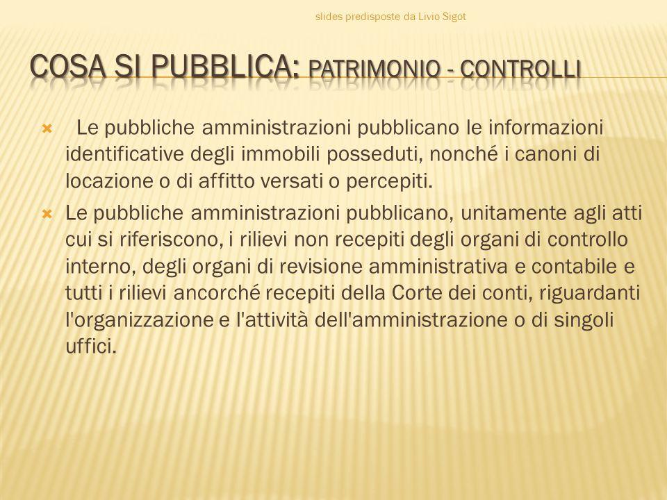 COSA SI PUBBLICA: PATRIMONIO - CONTROLLI
