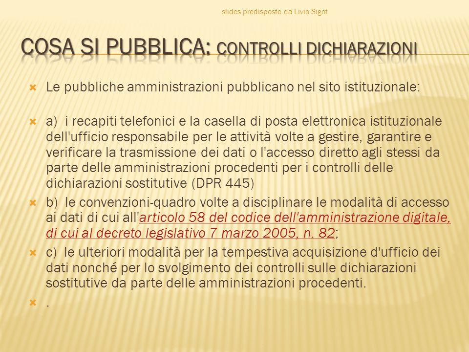 COSA SI PUBBLICA: CONTROLLI DICHIARAZIONI