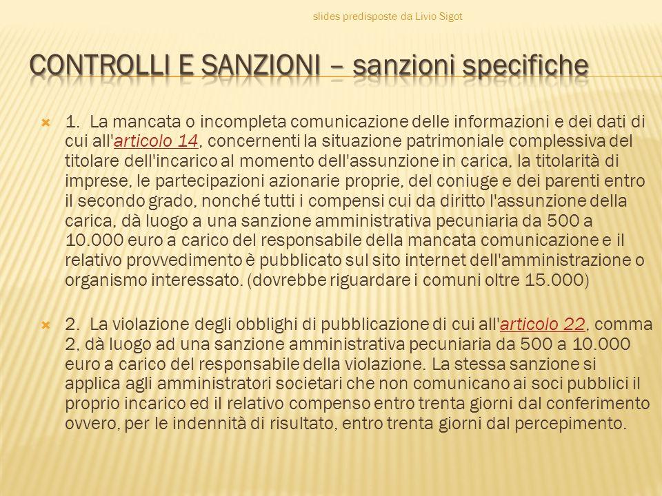 CONTROLLI E SANZIONI – sanzioni specifiche