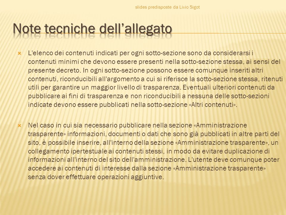 Note tecniche dell'allegato