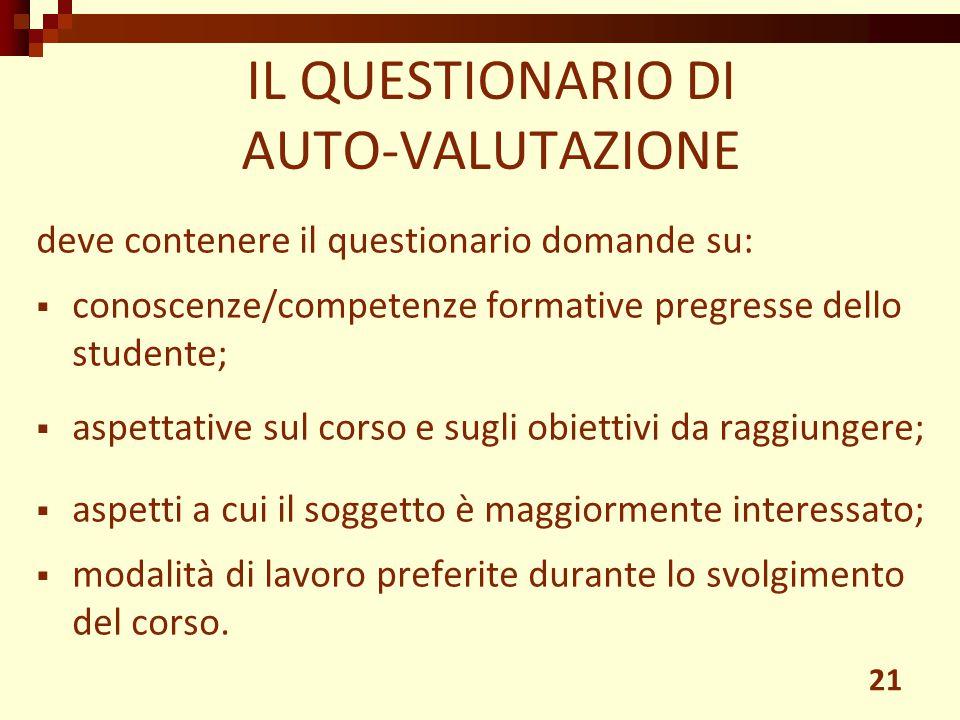 IL QUESTIONARIO DI AUTO-VALUTAZIONE