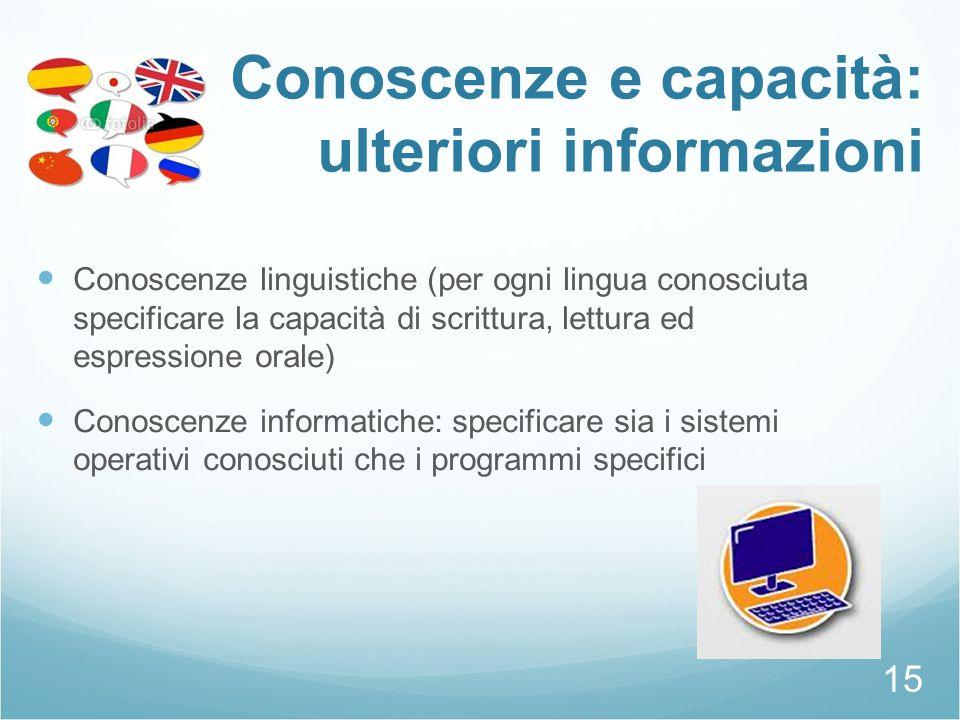 Conoscenze e capacità: ulteriori informazioni