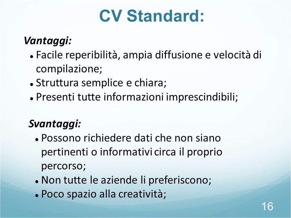 CV Standard: Vantaggi: