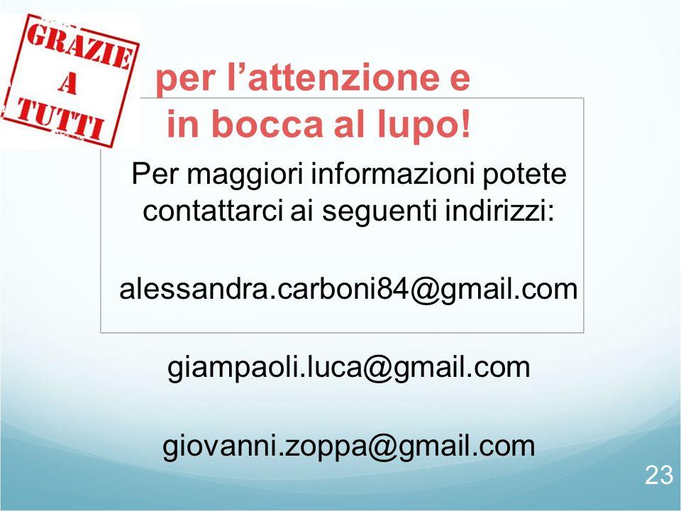 Per maggiori informazioni potete contattarci ai seguenti indirizzi: