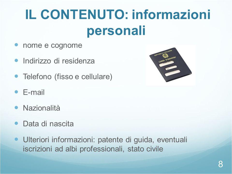 IL CONTENUTO: informazioni personali