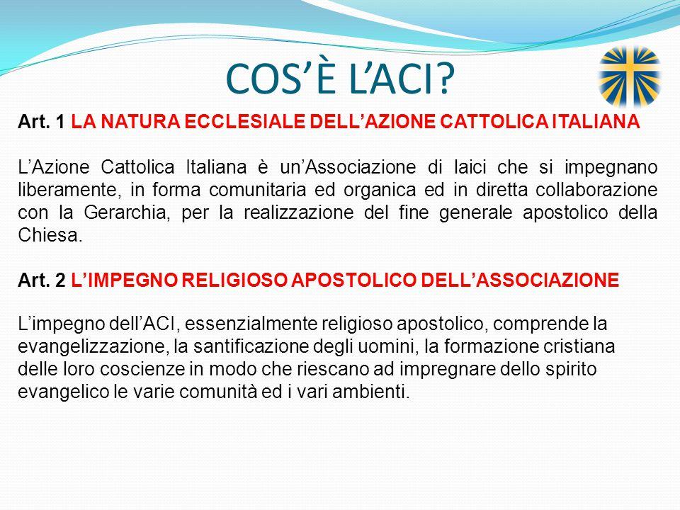 COS'È L'ACI Art. 1 LA NATURA ECCLESIALE DELL'AZIONE CATTOLICA ITALIANA.