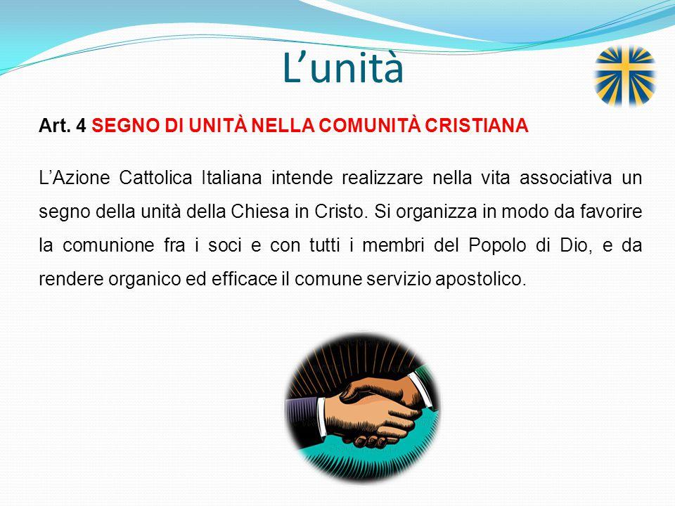 L'unità Art. 4 SEGNO DI UNITÀ NELLA COMUNITÀ CRISTIANA