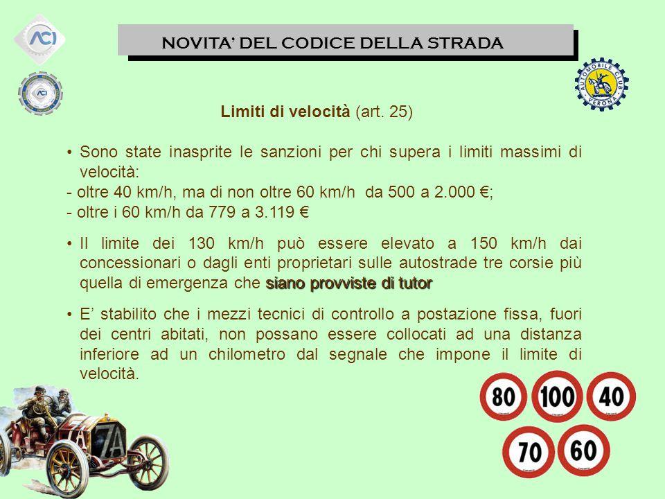 Limiti di velocità (art. 25)