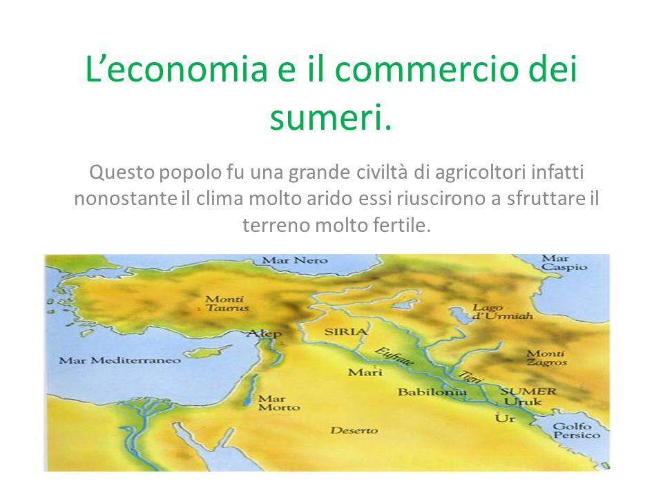 L'economia e il commercio dei sumeri.