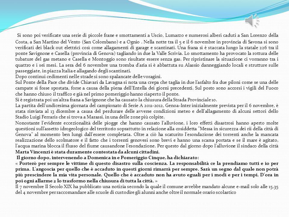 Si sono poi verificate una serie di piccole frane e smottamenti a Uscio, Lumarzo e numerosi alberi caduti a San Lorenzo della Costa, a San Martino del Vento (San Colombano) e a Ognio . Nella notte tra il 5 e il 6 novembre in provincia di Savona si sono verificati dei black out elettrici così come allagamenti di garage e scantinati. Una frana si è staccata lungo la statale 226 tra il ponte Savignone e Casella (provincia di Genova) tagliando in due la Valle Scrivia. Lo smottamento ha provocato la rottura delle tubature del gas metano e Casella e Montoggio sono risultate essere senza gas. Per ripristinare la situazione ci vorranno tra i quattro e i sei mesi. La sera del 6 novembre una tromba d aria si è abbattuta su Alassio danneggiando locali e strutture sulle passeggiate, in piazza Italia e allagando degli scantinati.