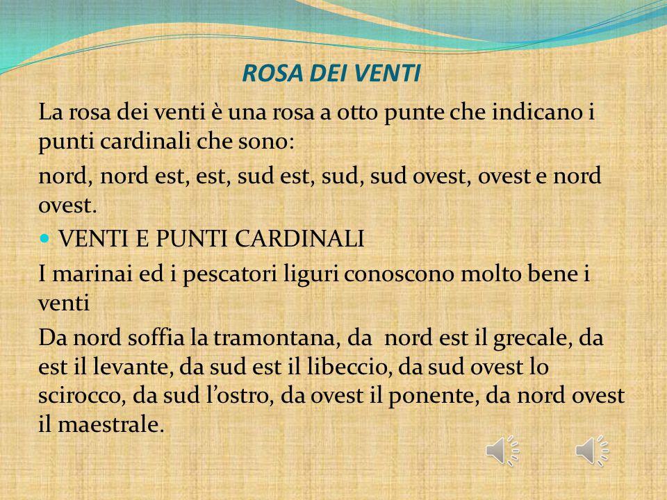 ROSA DEI VENTI La rosa dei venti è una rosa a otto punte che indicano i punti cardinali che sono: