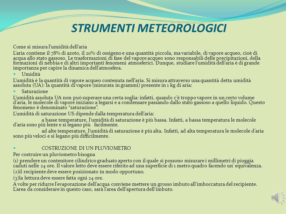 STRUMENTI METEOROLOGICI