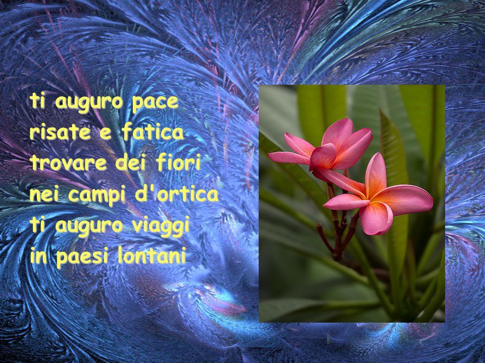 ti auguro pace risate e fatica. trovare dei fiori.