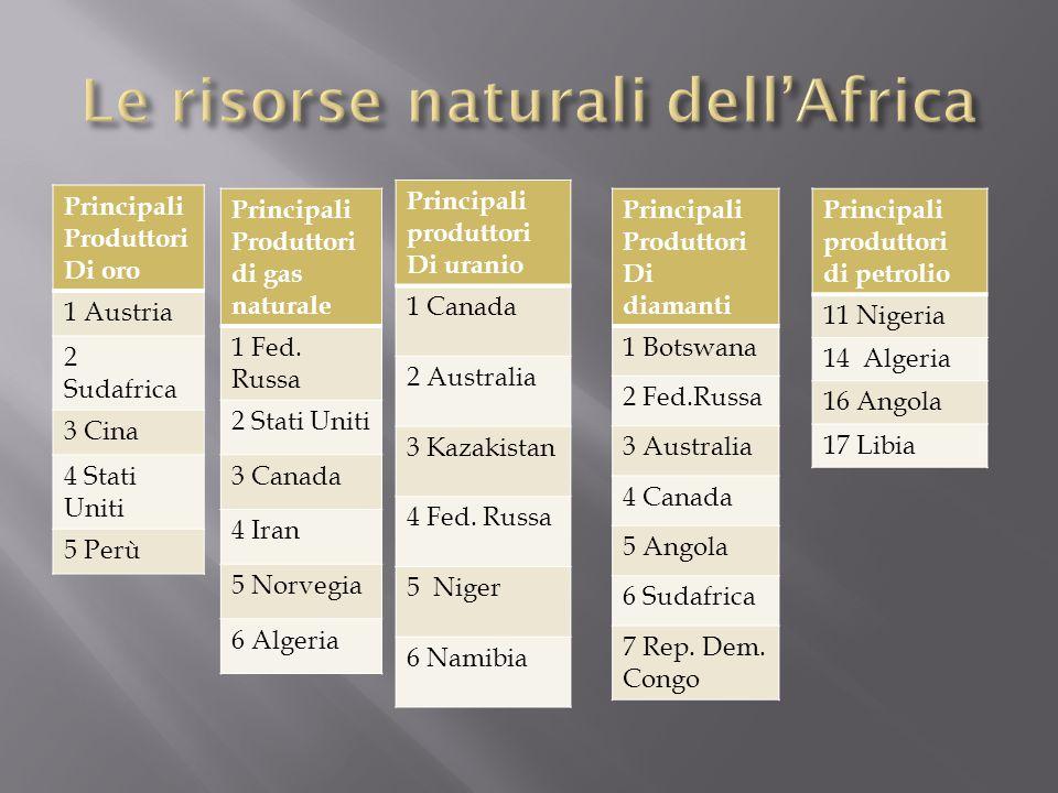 Le risorse naturali dell'Africa
