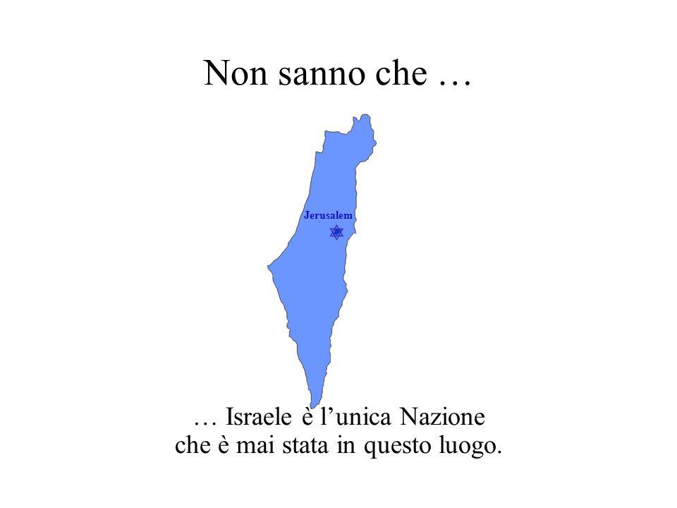 … Israele è l'unica Nazione che è mai stata in questo luogo.
