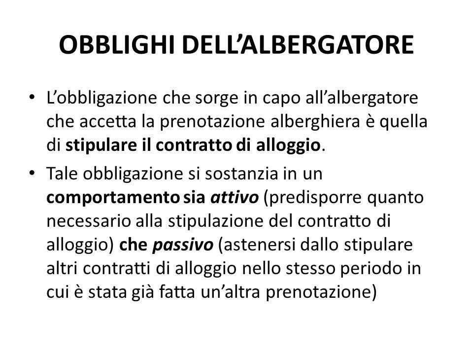 OBBLIGHI DELL'ALBERGATORE