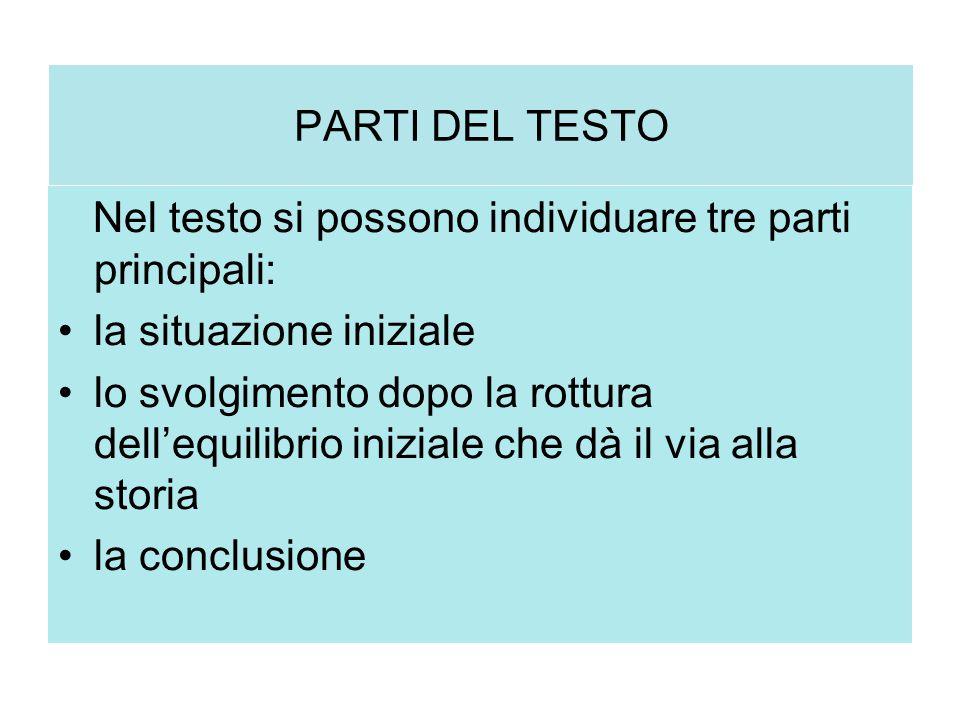 PARTI DEL TESTO Nel testo si possono individuare tre parti principali: la situazione iniziale.
