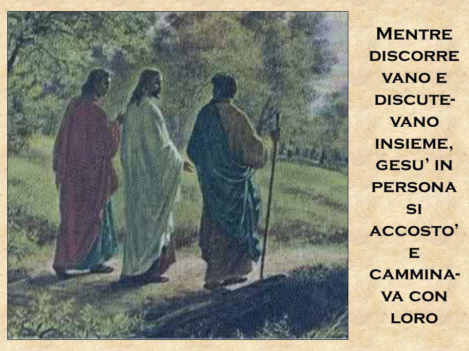 Mentre discorrevano e discute-vano insieme, gesu' in persona si accosto' e cammina-va con loro