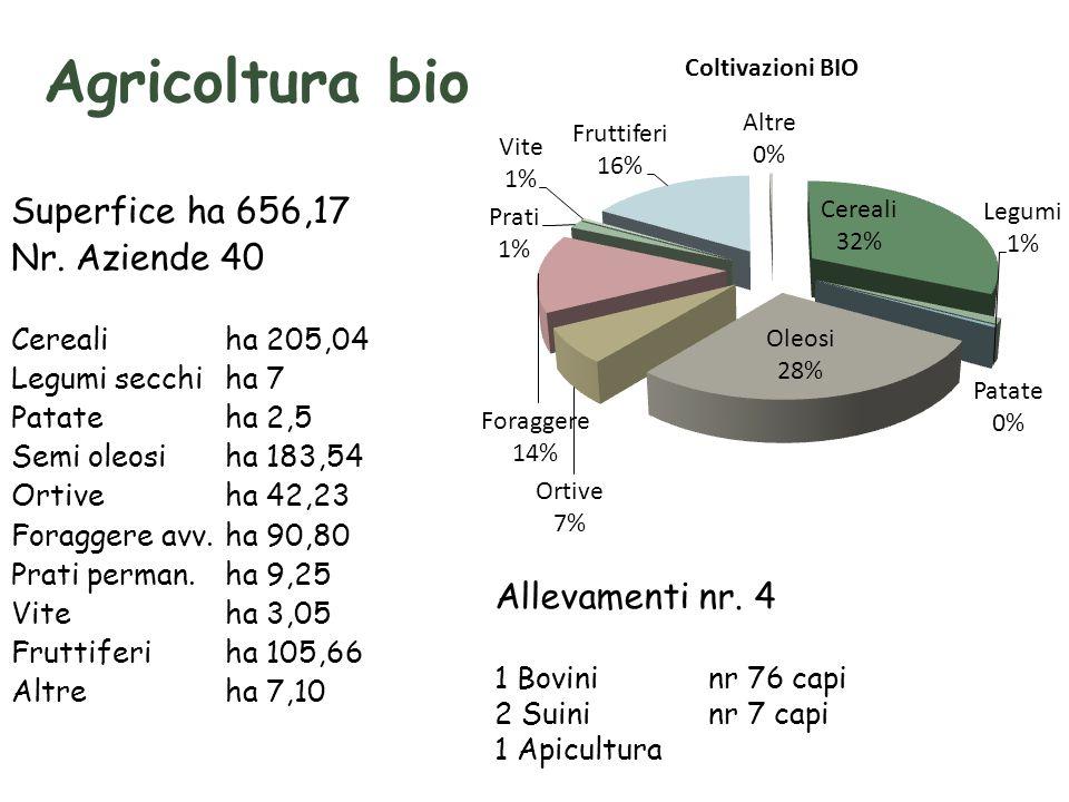 Agricoltura bio Superfice ha 656,17 Nr. Aziende 40 Allevamenti nr. 4
