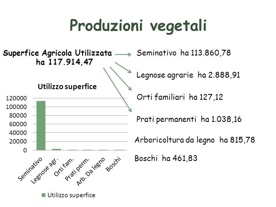 Produzioni vegetali Superfice Agricola Utilizzata ha 117.914,47