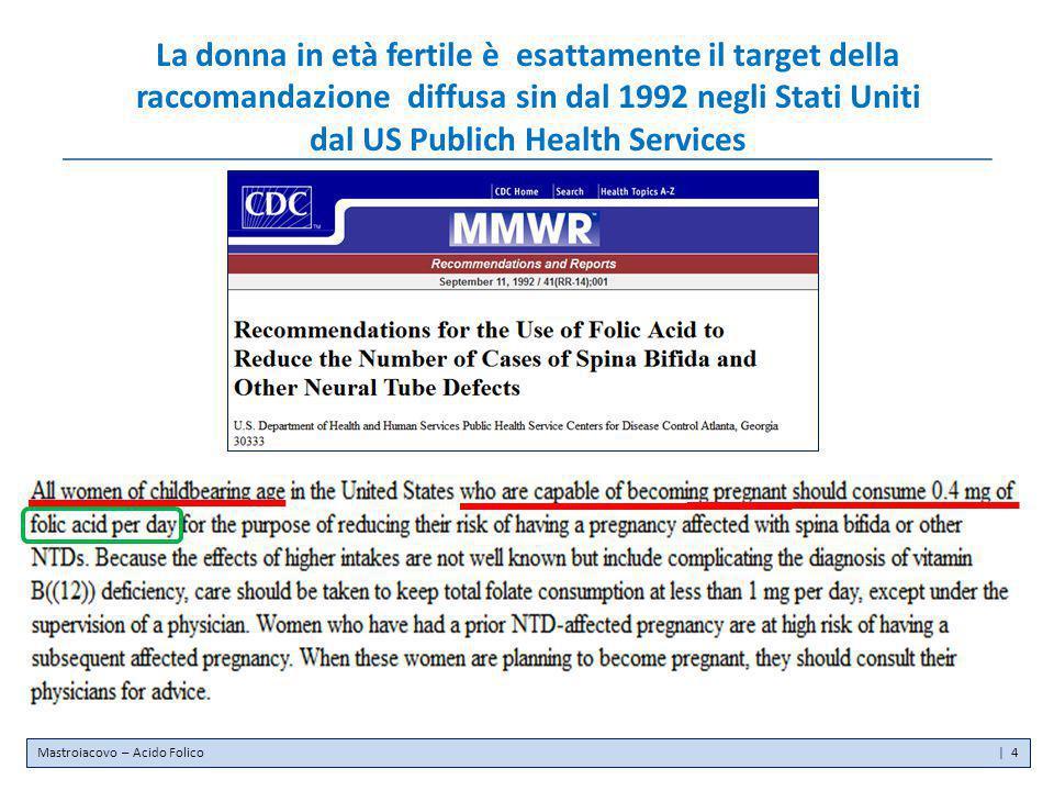 La donna in età fertile è esattamente il target della raccomandazione diffusa sin dal 1992 negli Stati Uniti dal US Publich Health Services