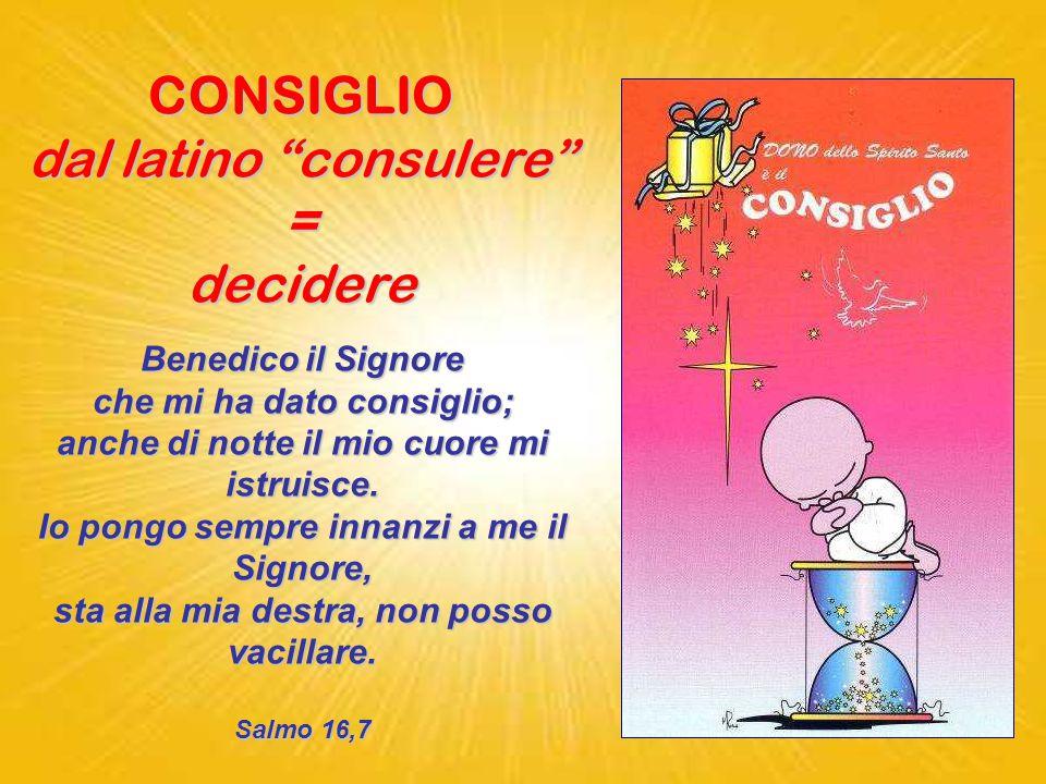 CONSIGLIO dal latino consulere = decidere