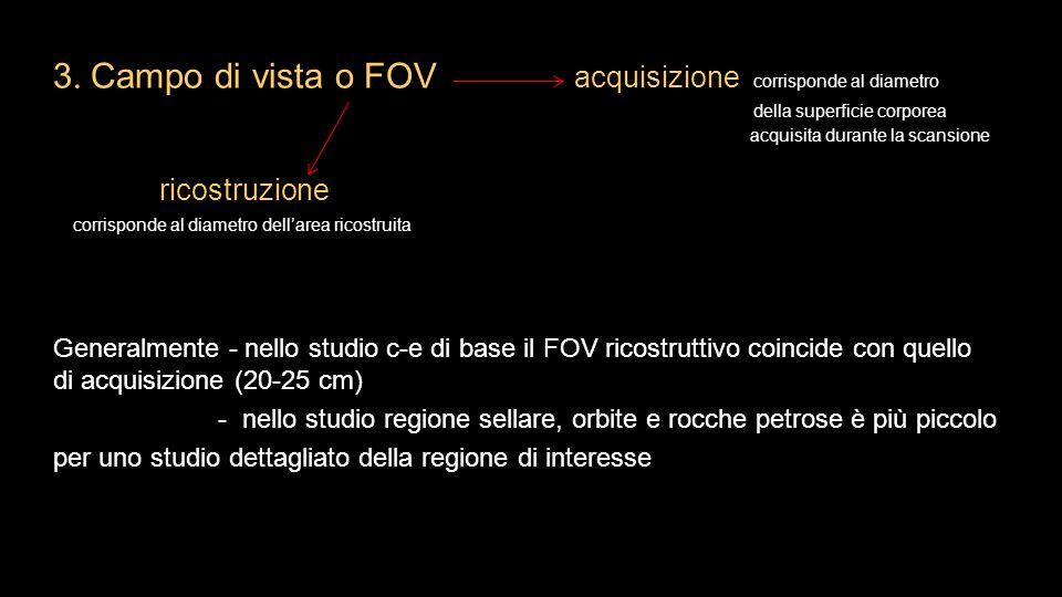 3. Campo di vista o FOV acquisizione corrisponde al diametro
