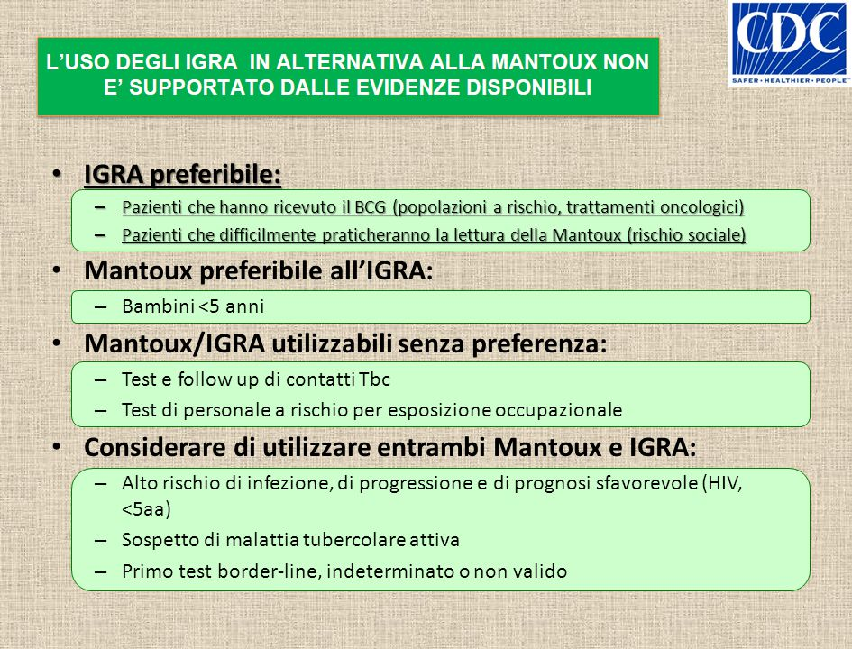 Mantoux preferibile all'IGRA: