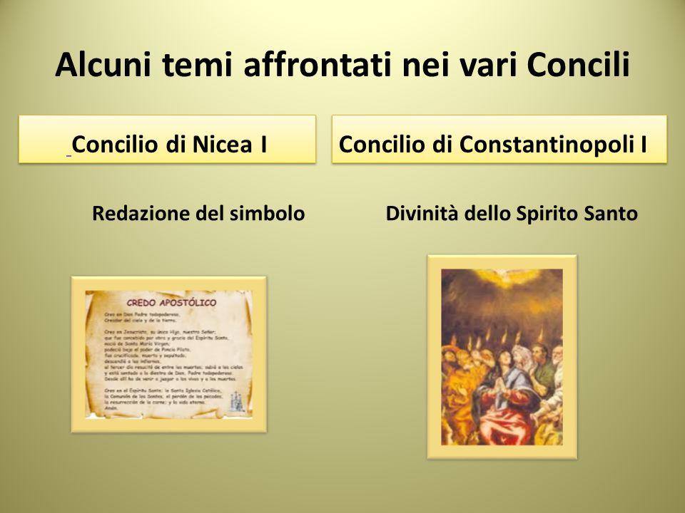 Alcuni temi affrontati nei vari Concili