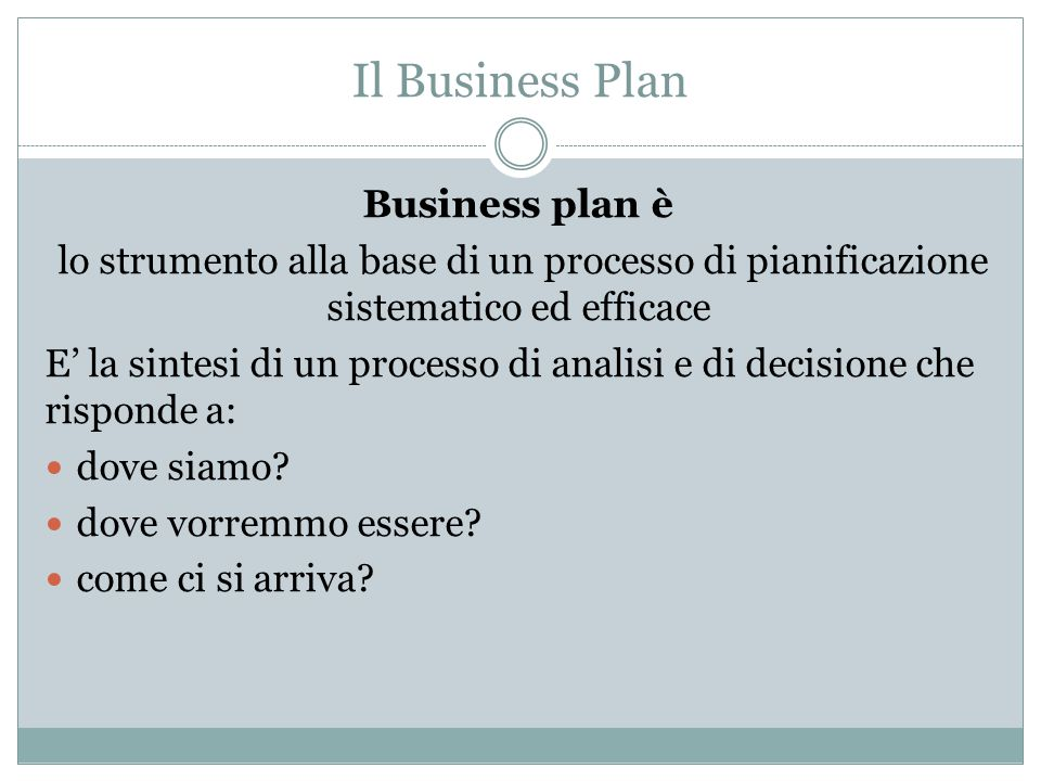 Il Business Plan Business plan è