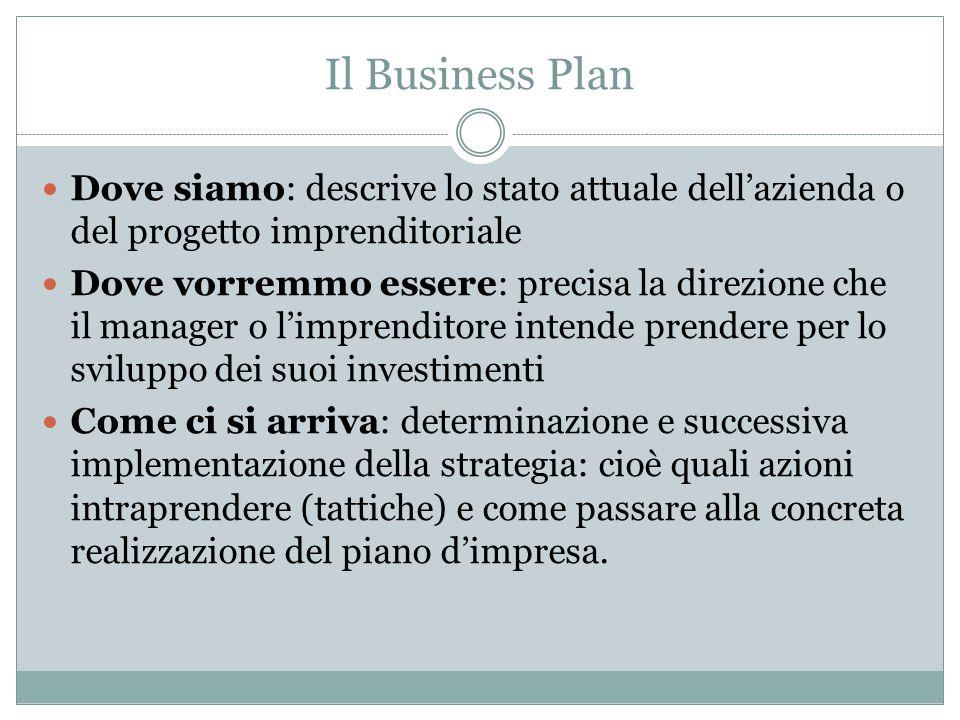 Il Business Plan Dove siamo: descrive lo stato attuale dell'azienda o del progetto imprenditoriale.