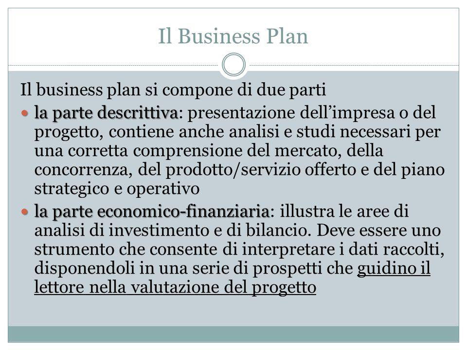 Il Business Plan Il business plan si compone di due parti