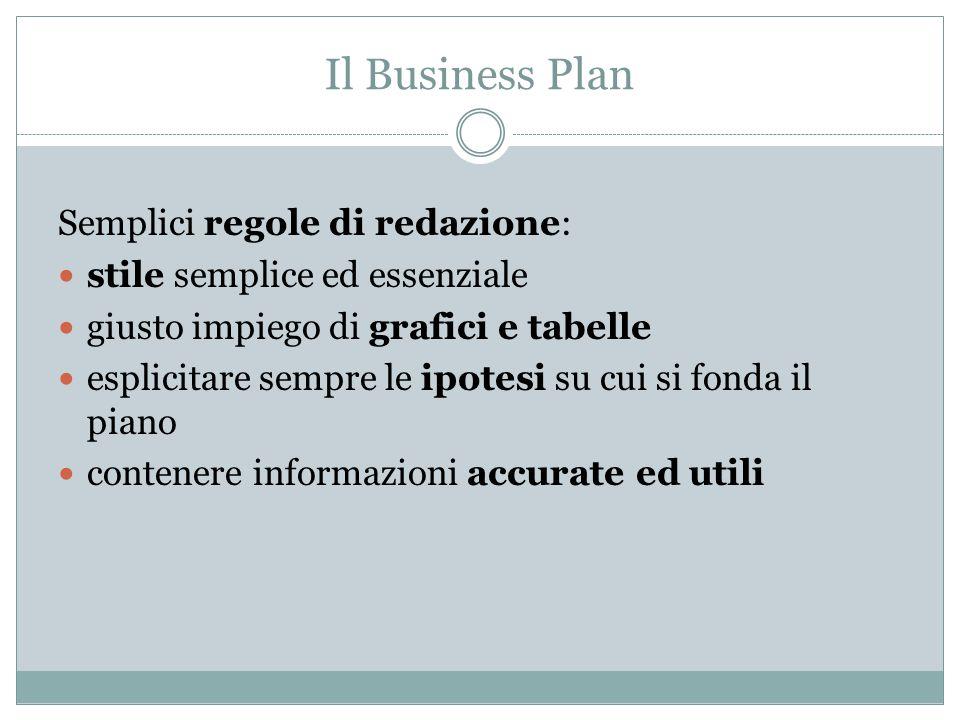 Il Business Plan Semplici regole di redazione: