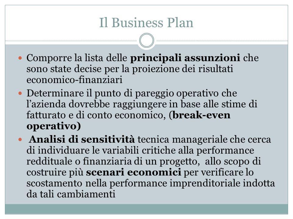 Il Business Plan Comporre la lista delle principali assunzioni che sono state decise per la proiezione dei risultati economico-finanziari.