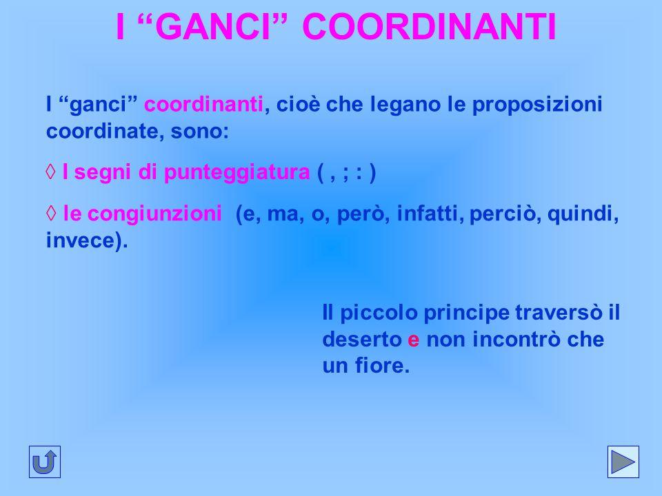I GANCI COORDINANTI I ganci coordinanti, cioè che legano le proposizioni coordinate, sono: ◊ I segni di punteggiatura ( , ; : )