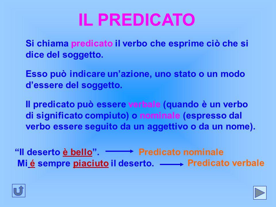 IL PREDICATO Si chiama predicato il verbo che esprime ciò che si dice del soggetto.