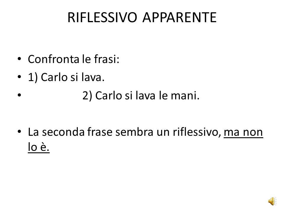 RIFLESSIVO APPARENTE Confronta le frasi: 1) Carlo si lava.