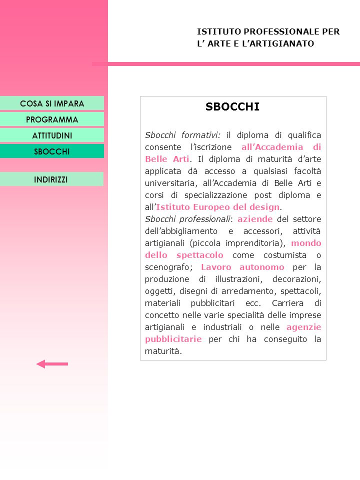 SBOCCHI ISTITUTO PROFESSIONALE PER L' ARTE E L'ARTIGIANATO