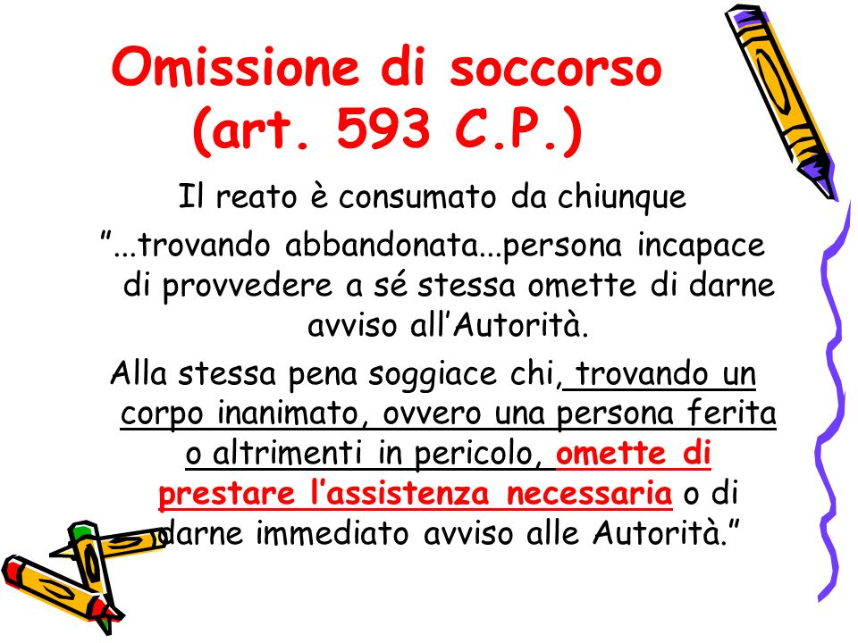 Omissione di soccorso (art. 593 C.P.)