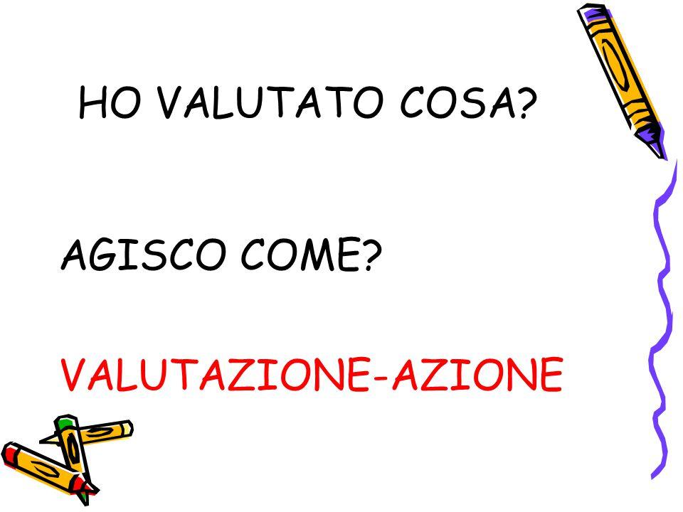 HO VALUTATO COSA AGISCO COME VALUTAZIONE-AZIONE