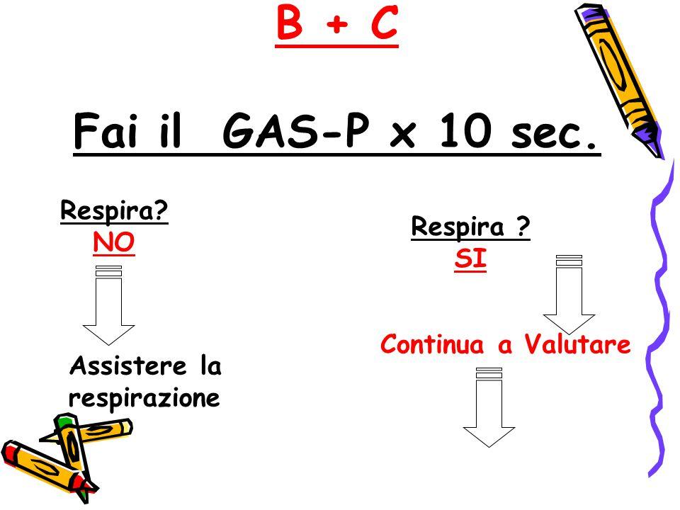B + C Fai il GAS-P x 10 sec. Respira NO Respira SI