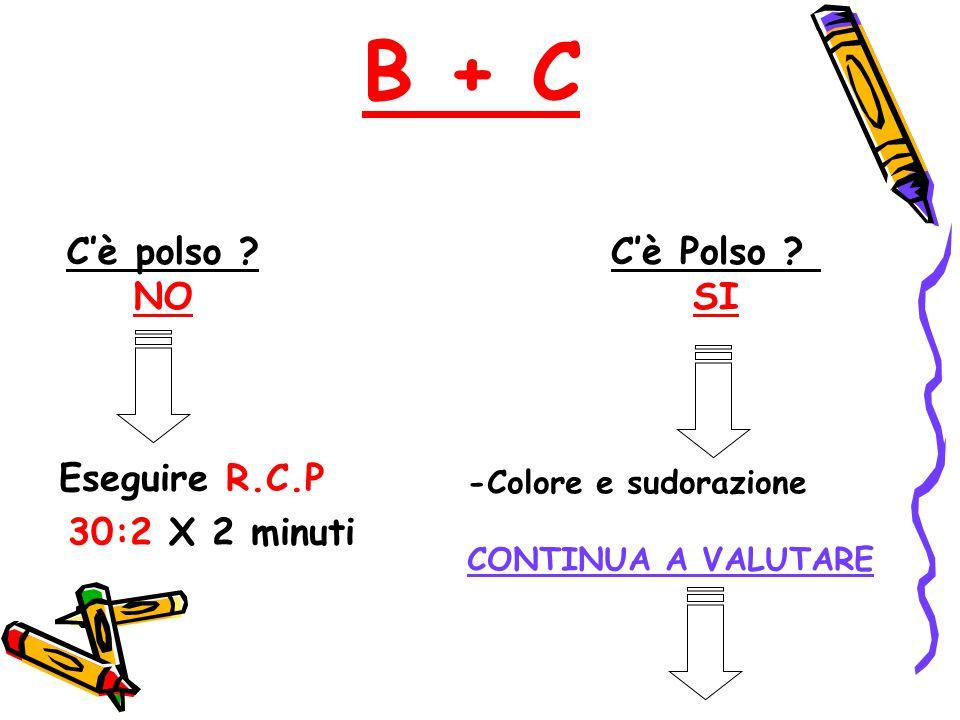B + C C'è polso NO C'è Polso SI Eseguire R.C.P 30:2 X 2 minuti