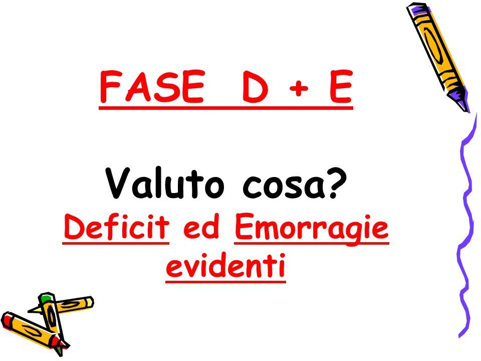 FASE D + E Valuto cosa Deficit ed Emorragie evidenti