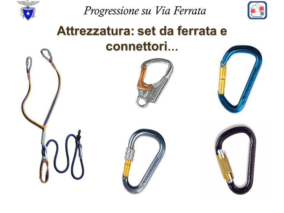 Attrezzatura: set da ferrata e connettori…