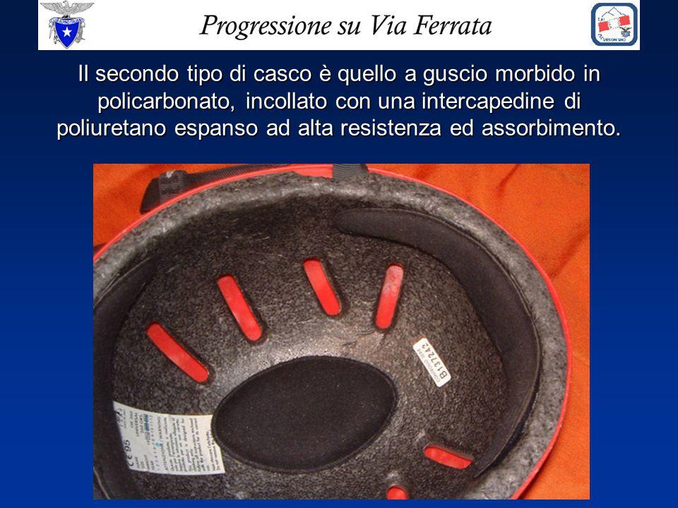 Il secondo tipo di casco è quello a guscio morbido in policarbonato, incollato con una intercapedine di poliuretano espanso ad alta resistenza ed assorbimento.